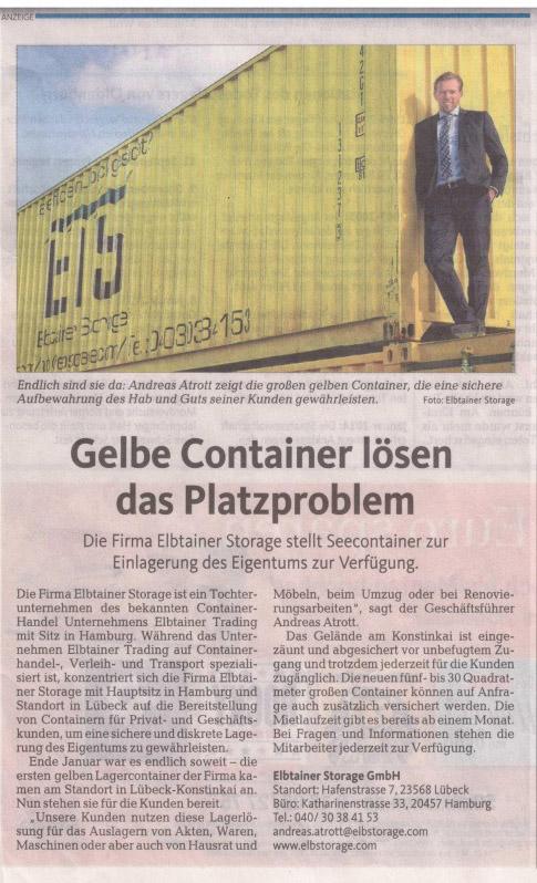 Lagercontainer in Lübeck von elbstorage